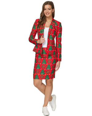 Red Suit with christmas trees for women - Suitmeister
