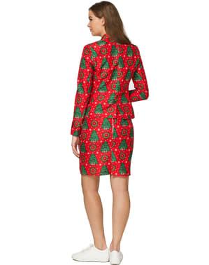 Abito Rosso con Alberi di Natale da donna - Suitmeister