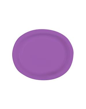 Zestaw 8 fioletowych owalnych tacek - Linia kolorów podstawowych
