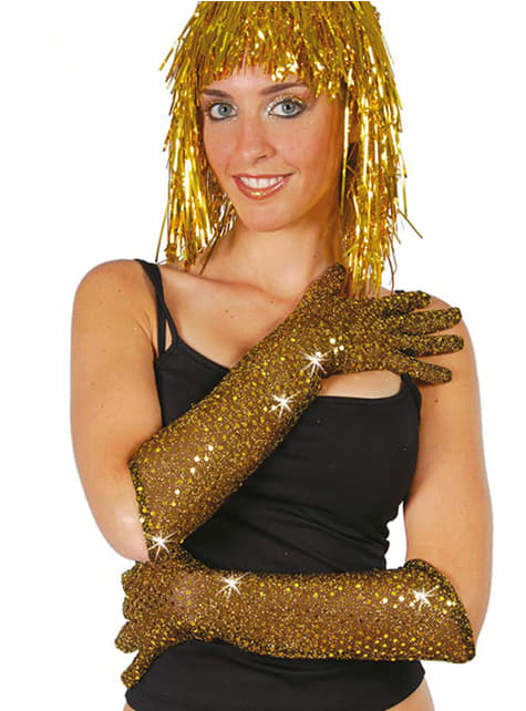 Luvas de lentejoulas douradas