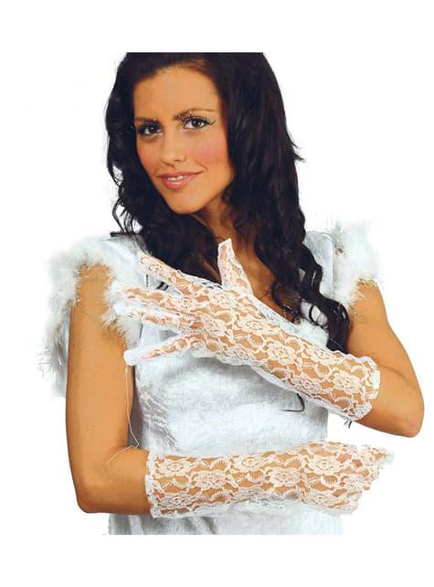 Mănuși dantela albe
