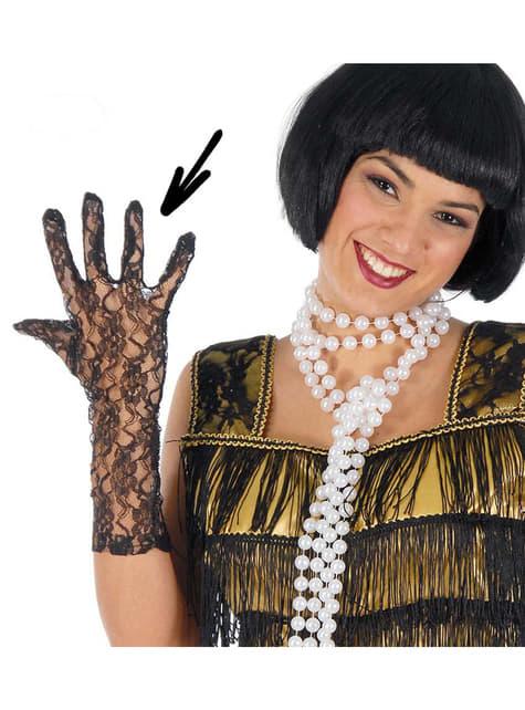 Schwarze Handschuhe Perforiert