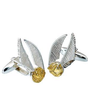 Gemelos de Snitch dorada de plata para hombre - Harry Potter