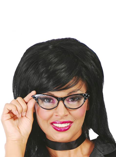 Zwarte jaren 50 stijl bril voor vrouwen