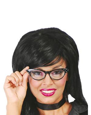 Óculos anos 50 pretos para mulher
