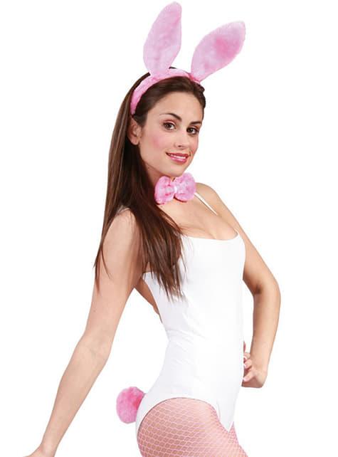 Conjunto de coelhinho cor-de-rosa para mulher