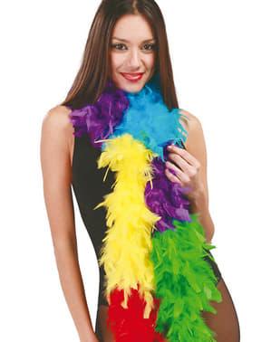 Boa de plumas multicolores