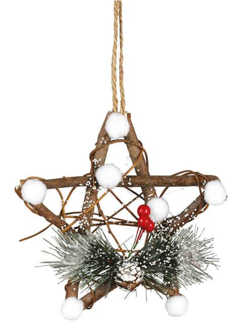 Estrela natalícia com azevinho para a árvore de Natal