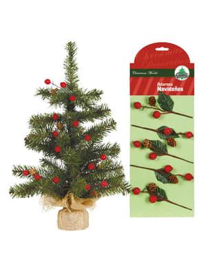 8 rămurele de vâsc de Crăciun cu conuri pentru brad