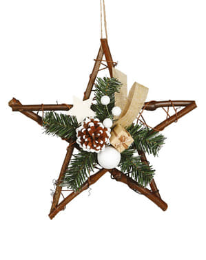 Large Christmas Star with Pine Cone Tree Decoration