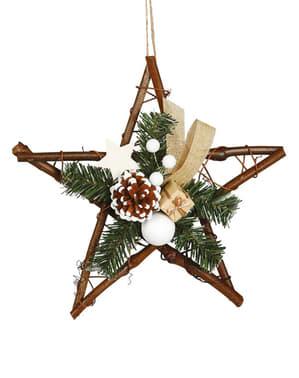 Suuri punottu joulutähti männynhavu-koristeluilla