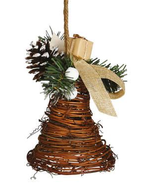 Punottu joulukello männynhavu-koristeluilla