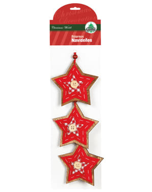 Set de 3 étoiles de Noël rouges avec nœud pour le sapin