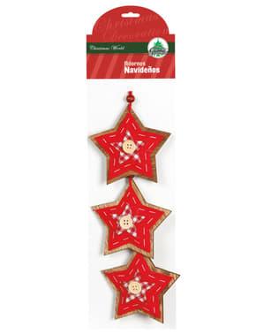 Weihnachtsstern Baumdeko Set rot mit Schleife 3-teilig