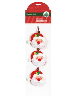 Set de 3 décorations du Père Noël pour le sapin