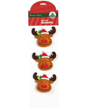 3 Reindeer Tree Ornaments
