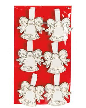6 campanas navideñas con pinzas para el árbol