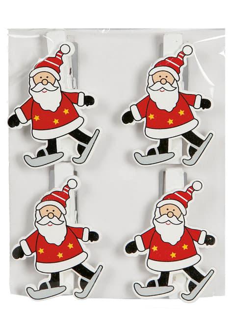 Set de 4 adornos de Papá Noel con pinzas para el árbol