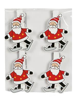 4 adornos de Pai Natal com pinças para a árvore de Natal