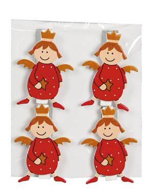 Weihnachtsengel Baumdeko Set mit Clips 4-teilig