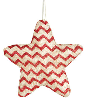 Red Chevron Star Christmas Tree Ornament