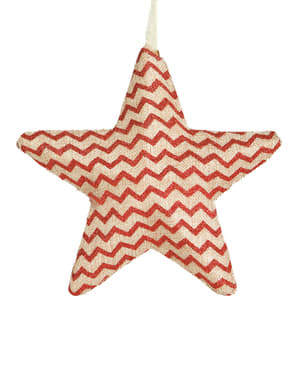 Estrella navideña de rayas rojas grande para el árbol