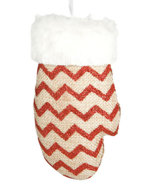 Red Chevron Glove Christmas Tree Ornament