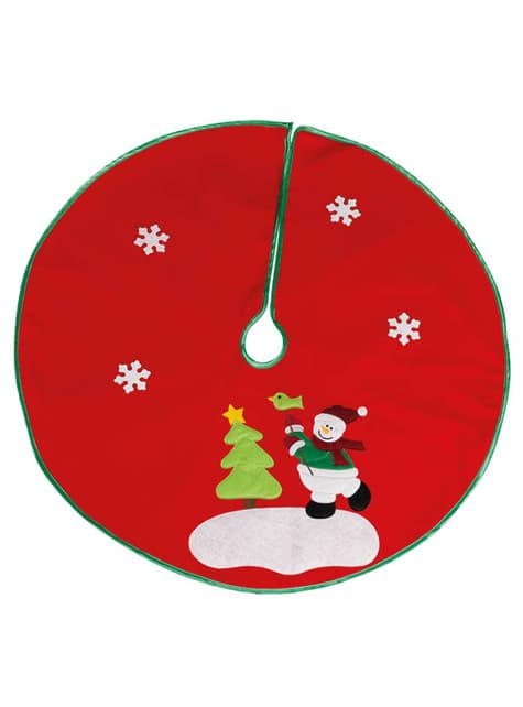 Cubre pies de árbol navideño rojo con nieve