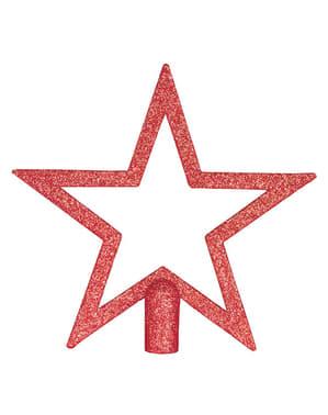 Punainen glitterinen tähti kuusenlatvaan