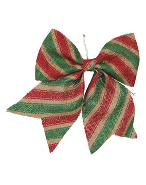 Dekoracja na choinkę czerwono-zielona kokarda