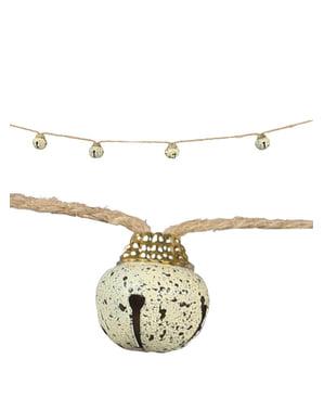 Ghirlandă cu zurgălăi de Crăciun crem pentru brad