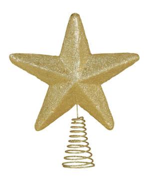 Връх за елха златиста звезда с брокат