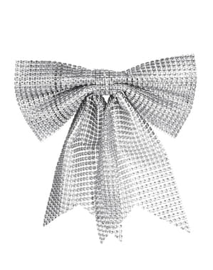 Shiny Silver Christmas Tree Bow