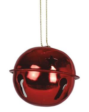 2 guizos natalícios vermelhos redondos para a árvore de Natal
