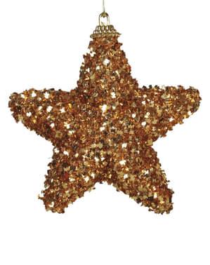 Set de 3 étoiles de Noël dorées pour le sapin
