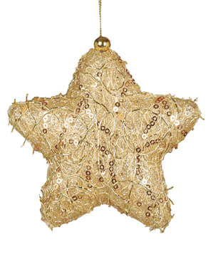 Étoile de noël dorée décorée pour le sapin