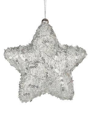 Estrela natalícia prateada decorada para a árvore de Natal