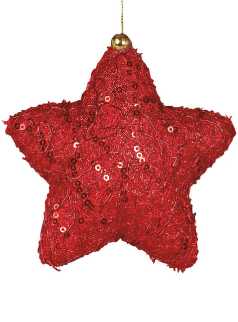 Estrela natalícia vermelha decorada para a árvore de Natal
