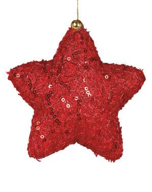 Étoile de noël rouge décorée pour le sapin