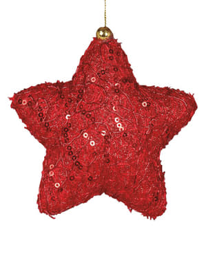 Stea de Crăciun roșie decorată pentru brad