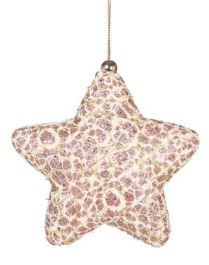 Étoile de noël rose décorée pour le sapin