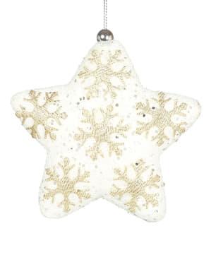 Релефна бяла звезда за елха с украса