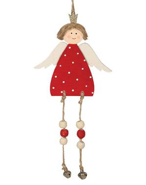 Piros karácsonyi angyal fa dekoráció