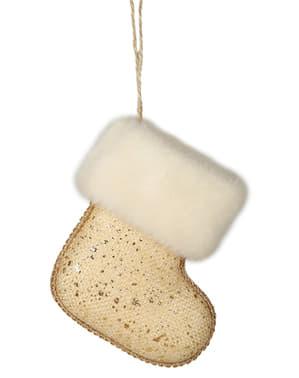 Złota dekoracja na choinkę skarpeta na prezenty