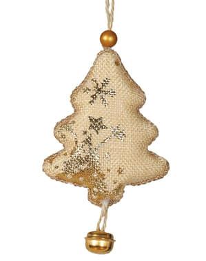 Kullanvärinen joulukuusenkoriste kulkusella