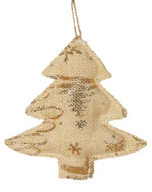 Árbol navideño dorado pequeño para el árbol