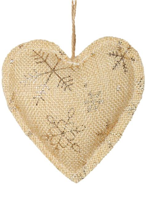 Corazón navideño dorado para el árbol