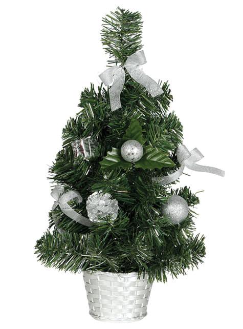 Mini árbol navideño plateado