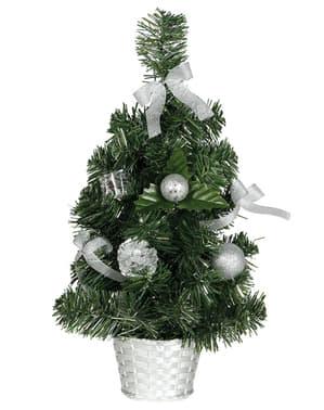 Mini árvore de Natal prateada