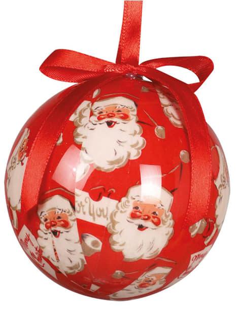 Set de 6 bolas navideñas rojas decoradas